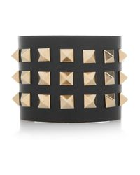 Valentino - Black Studded Leather Cuff - Lyst