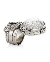 Saint Laurent   Metallic Arty Oval Ring   Lyst