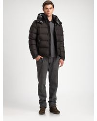 Moncler | Black Chevalier Down Hooded Parka for Men | Lyst