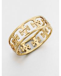 Tory Burch | Metallic Reverse Cutout Logo Bangle Bracelet | Lyst
