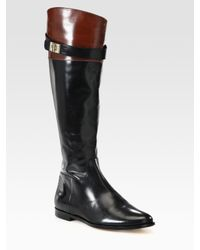 Cole Haan - Black Twotone Leather Riding Boots - Lyst