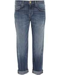 Current/Elliott | Blue The Kick Crop Flare Jeans In Shaker Destroy | Lyst