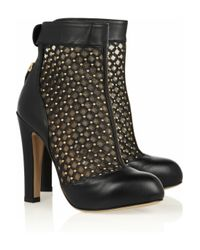 Valentino   Black Studded Leather and Mesh Ankle Boots   Lyst