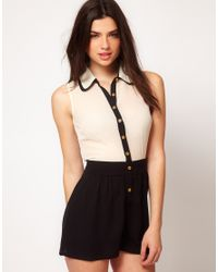 ASOS Collection | Natural Playsuit with Contrast Double Collar | Lyst