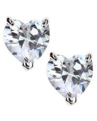 CZ by Kenneth Jay Lane - Metallic Heart Stud Earrings - Lyst