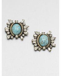 DANNIJO | Metallic Swarovski Crystal Button Earrings | Lyst