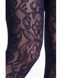DKNY | Blue Lace Net Tights | Lyst