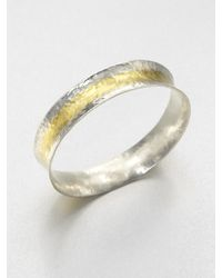 Gurhan | Metallic Sterling Silver & 24k Yellow Gold Bangle Bracelet/striped | Lyst
