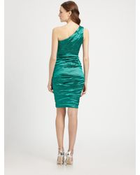 Nicole Miller | Green Oneshoulder Dress | Lyst