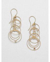 Roberto Coin - Metallic Diamond 18k Yellow Gold Hoop Drop Earrings - Lyst