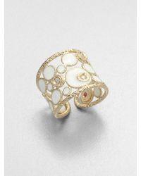 Roberto Coin - White Diamond Enamel 18k Gold Ring - Lyst