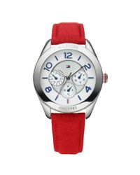 Tommy Hilfiger - Womens Red Leather Strap Watch - Lyst