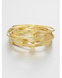 Tory Burch - Metallic Logo T Bangle Bracelet Set - Lyst
