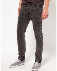 ASOS Gray Asos Skinny Cord Jeans for men