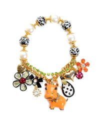Betsey Johnson - Multicolor Hippo Charm Stretch Bracelet - Lyst