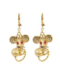 Betsey Johnson - Metallic Mouse Drop Earrings - Lyst