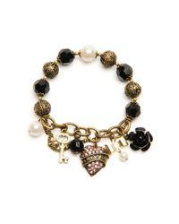 Betsey Johnson - Pink Love Heart Stretch Bracelet - Lyst