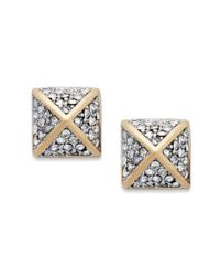 Juicy Couture | Metallic Gold Tone Glass Pyramid Stud Earrings | Lyst