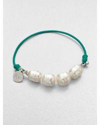 Majorica - Green 10mm White Baroque Pearl Stretch Bracelet - Lyst