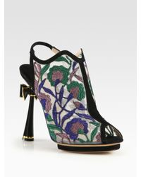 Nicholas Kirkwood | Black Embroidered Open Back Bow Suede Ankle Boots | Lyst