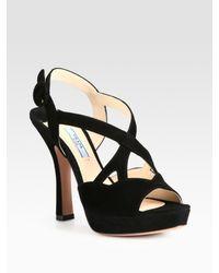 11efe1eff243 Lyst - Prada Suede Crisscross Platform Sandals in Black