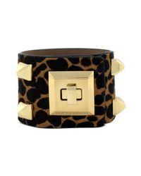 Vince Camuto | Metallic Gold Tone Leopard Print Turnlock Cuff Bracelet | Lyst