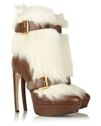 Alexander McQueen | White Shearling and Leather Ankle Boots | Lyst