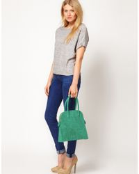 ASOS - Green Suede Croc Embossed Lady Bag - Lyst
