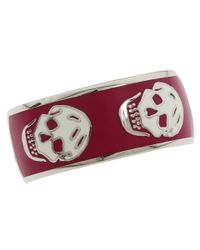 Alexander McQueen | Red Enamel Skull Ring  | Lyst