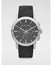 Burberry | Metallic Check Strap Chronograph Watch | Lyst