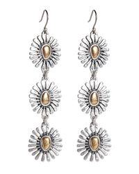 Lucky Brand - Metallic Two Tone Floral Triple Drop Earrings - Lyst