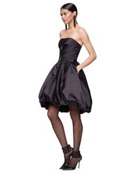 Oscar de la Renta - Black Duchess Satin Strapless Bubble Dress - Lyst