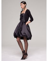 Oscar de la Renta - Black Duchess Satin Strapless Bubble Dress - Lyst
