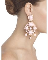 Oscar de la Renta - Pink Opaque Cabochon Drop Earrings - Lyst