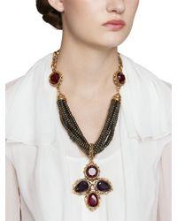 Oscar de la Renta | Purple Stone Cluster Necklace | Lyst