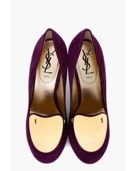 Saint Laurent | Purple Suede Catherine Pumps | Lyst