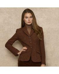 Ralph Lauren Blue Label Tweed Riding Jacket In Brown Lyst