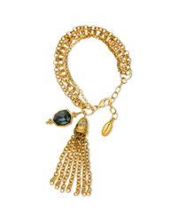 T Tahari | Metallic 14k Goldplated Black Crystal Tassel Link Bracelet | Lyst