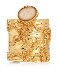 Saint Laurent | Metallic Large Arty Goldplated Glass Cuff | Lyst