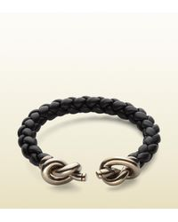 Gucci | Black Woven Leather Bracelet with Knot Details for Men | Lyst