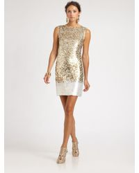 Oscar de la Renta | Metallic Sequined Silk Dress | Lyst