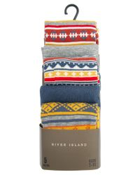 River Island - Multicolor Five Pack Aztec Socks for Men - Lyst