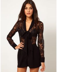 ASOS Collection | Black Asos Pussybow Playsuit in Lace | Lyst