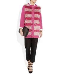 Marc Jacobs | Purple Faux Fur and Sequinembellished Cardigan | Lyst