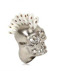 Alexander McQueen | Metallic Swarovski Punk Skull Ring | Lyst