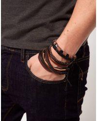 River Island - Brown Leather Bracelet for Men - Lyst