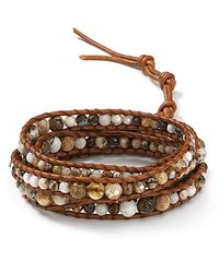 Chan Luu - Brown Brioche Agate and Leather Wrap Bracelet - Lyst