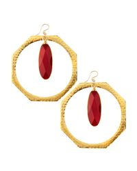 Devon Leigh | Metallic Ruby Quartz Hoop Earrings | Lyst