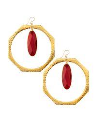 Devon Leigh - Metallic Ruby Quartz Hoop Earrings - Lyst