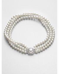 Majorica | Multirow 8mm White Round Pearl Necklace | Lyst